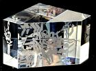 STEUBEN Etched Tennis Paperweight Signed Presentation Glass Block Cube