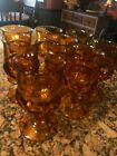 VINTAGE SET OF 10 AMBER INDIANA FOOTED DRINKING GLASSES