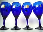Vintage Libbey Libby Celestial Cobalt Blue Glass Wine Water Sun Moon Stars Lot