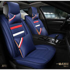 Deluxe Blue Car SUV Seat Cover Cushion Headrest Front+Rear PU Leather