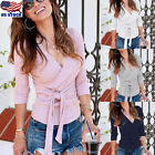 Womens Sexy Wrap V Neck Long Sleeve Knitted Tops Slim Fit Sweater Jumper Blouse