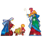 Outdoor Christmas Lighted Stake 3Pcs Yard Mosaic Nativity Decoration Xmas Garden