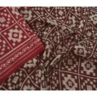 Tcw  Vintage Red Saree 100% Pure Silk Printed 5 Yard Sari Craft Fabric