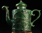 Chinese antique hand-made green glaze porcelain carve dragon pattern teapot c01