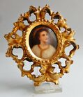 ANTIQUE Porcelain Young JESUS BEAUTIFUL Hand Painted Plaque - Gold Gilded FRAME