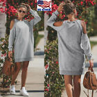Womens Long Sleeve Cold Shoulder Casual Long Sweater Jumper Blouse Tops Dress US