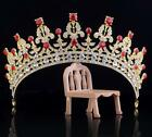 217 Vintage Adult Red Golden Full Crystal Tiara Crown Wedding Pageant Prom