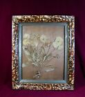 Victorian spattered ptd picture frame for 8 x 10 pict. w dried pansy. c1890-1910
