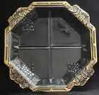 Vintage Jeannette Pressed Glass 4-Part Relish Dish Divided Tray Octagon Grapes
