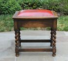 Antique English Oak BARLEY TWIST Red Leather Upholstered Lift Top Stool Bench