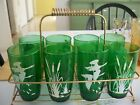 Set of 8 vintage Anchor Hocking forest green geese and cattail glasses w rack