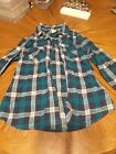 Girls flannel large monssimo turquoise and blue button up dhirt