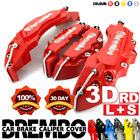 4x Red 3D Brake Caliper Covers Style Disc Universal Car Front Rear Kits L+S C1