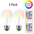 LED Color Change Light Bulbs E26 10W RGBW Lights Lamp Remote Colored Bulb 2 Pack