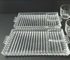 TWO Hazel Atlas Glass Snack Plates Vintage - Partitioned - Ribbed Glass Pattern