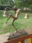 Vintage  Bronze ART DECO NUDE LADY Statue Holding Bells with Striker