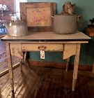 Antique Primitive Farmhouse Wood Table With Enameled Top Chippy Wood Work Table