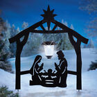 Outdoor Christmas Stake Decoration Xmas Solar Lights Lantern Nativity Silhouette