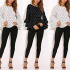 Women Bell Sleeve Loose Polka Dot Shirt Ladies Office Casual Blouse Tops