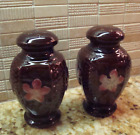Vintage Large Brown Salt  Pepper Shakers Pink Flowers Made Japan Fun