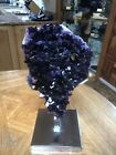 Museum Quality Amethyst on chrome stand 18x8in Artigas Uruguay