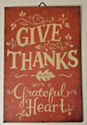 Fall Harvest Give Thanks with a Grateful Heart Hanging Sign 85x13