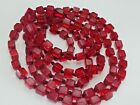 ATQ CHERRY RED BOHEMIAN CZECH GLASS ART DECO CUBE BEAD HAND KNOTTED NECKLACE 54