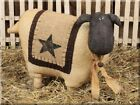 NEW!!! Primitive Country Large Ivory Wooly Sheep Standing Figure W/Rusty Bell