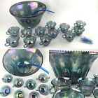 Vtg Indiana Glass PRINCESS Iridescent Blue Carnival Grape Punch Bowl 26pc Set