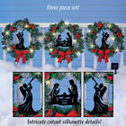 Outdoor Lighted Wreaths 3Pc Christmas Hanging Ornaments Solar Fence Nativity Art