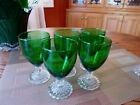 ANCHOR HOCKING BUBBLE FOOT GREEN - 1950  DEPRESSION GLASS - (5) JUICE GLASSES