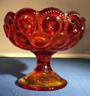 Red Amberina Moon And Stars Vintage Glass Compote Pretty Estate Find