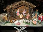Rare Vintage 50s Paper Mache Nativity Set Rare Lg Scale Hand Painted Italy