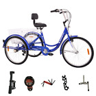 3 Wheel 7 Speed Adult 24 Tricycle Bike Bicycle Trike Cruise Elder Shopping Cart