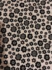 Cotton Quilt Fabric Black White BW Flower Floral Flowers Polka Dot 16 x 18