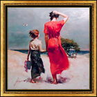 Pino Daeni Afternoon Stroll Embellished Giclee on Canvas Signed Mother Child Art