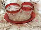 Vintage Indiana Crystal Ruby Red Flash Diamond Point Cream, Sugar, Tray Set