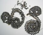 Victorian Antique Dress Appliques Cut Steel Beads crafts edging trim costumes