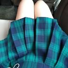 Women Check Pleated Mini Skirt Scotland Scottish Plaid Kilt Skater Retro Black