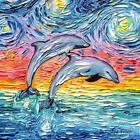Tropical Paradise Dolphins Starry Night Wall Art Print Seascape Home Decor Aja