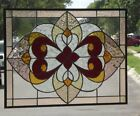 """•Victorian inspired Extra Large Stained Glass Window Panel •24"""" x 16 3/8"""