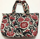 Thirty One dbl strap stain resistant puse shoulder bag Red flowers Black Floral