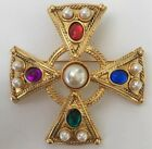 Vtg 80s Statement Maltese Cross Baroque Gold Tone Brooch Pin Faux Stones Pearls