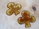 Pair Of Three Leaf Clover Amber Colored Glass Trinket Dishes Bowls