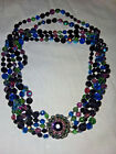 5 Strand Tri Color Glass Necklace by Eugene c1950s