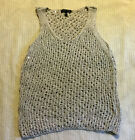 EILEEN FISHER Silver Sequin Chain Mail Mesh Sweater Tank Top XS