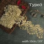 Vintage Gold Embroidered Lace Edge Trim Ribbon Costume Decor Applique DIY Sewing