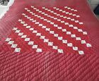 WHITE FEEDSACK 4-PATCH HAND QUILTED QUILT 48