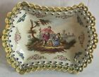 Early Lille Faience 1767 Scenic Tray Figures with Border Curls - French