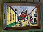 Vintage Hand Painted Ceramic 6 Tile Mural Of A Mexican Street Scene on Tin Tray